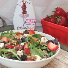 Summer Berry Salad & Lemon Agave Chicken Skewers with OrganicGirl Salad Dressing