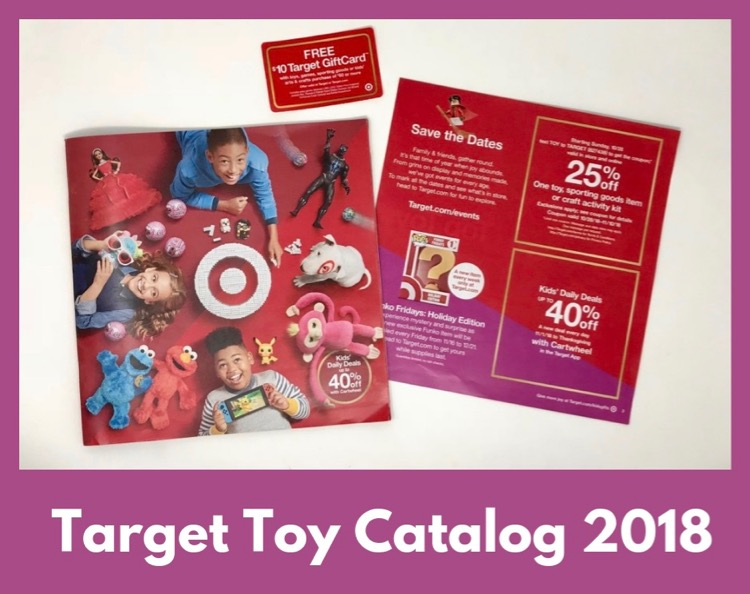 Target Toy Catalog 2018 next to gift card.