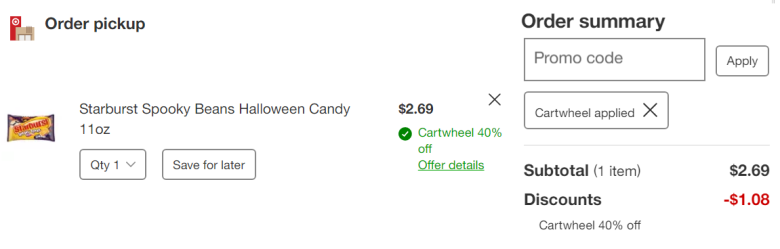 A view of what it looks like to order with the Target Cartwheel app on desktop