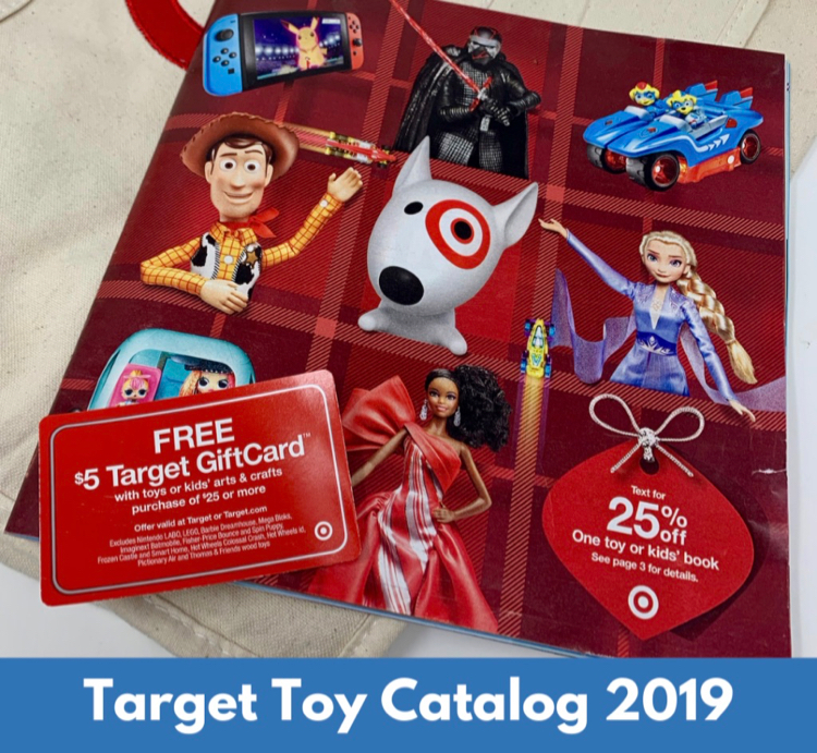 """A picture of this years catalog with the phrase """"Target Toy Catalog 2019"""" displated across the bottom"""