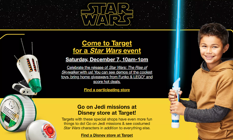 Image result for pictures of the star war event at target.com dec.7th